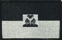 Haiti Flag Iron-on Tactical Patch Black & White Version Black Border 55