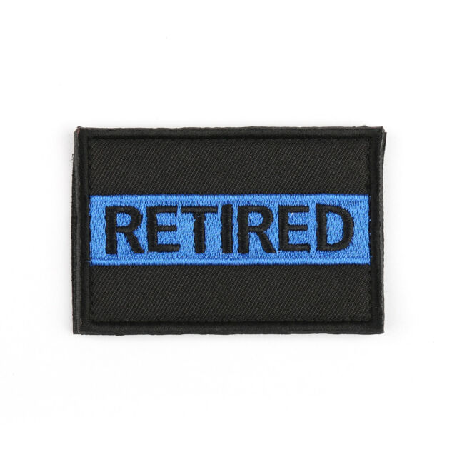 Retired Blue Line Police Cop Sheriff Le Law Enforcement Insignia Patch Hook Loop