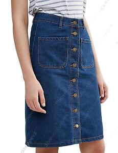 New-Women-Midi-Denim-Skirt-Indigo-wash-Button-Denim-Skirts-Size-8-10-12-14