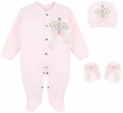 Lilax Baby Girl Jewels Crown Layette 4 Piece Gift Set 3-6 Months Pink