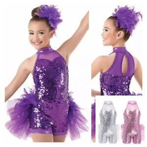 Dance-Costume-4-10-Years-Disco-Freestyle-Sequin-Competition-Leotard-Modern-UK