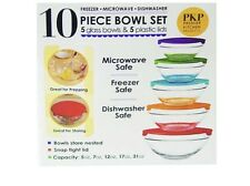 BRAND NEW:10 PIECE GLASS BOWL SET WITH LIDS(MICROWAVE,FREEZER&DISHWASHER SAFE)