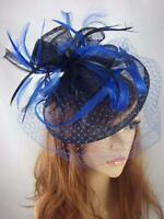 Navy & Royal Blue Sinamay Fascinator With Birdcage Veil - Occasion Wedding Races