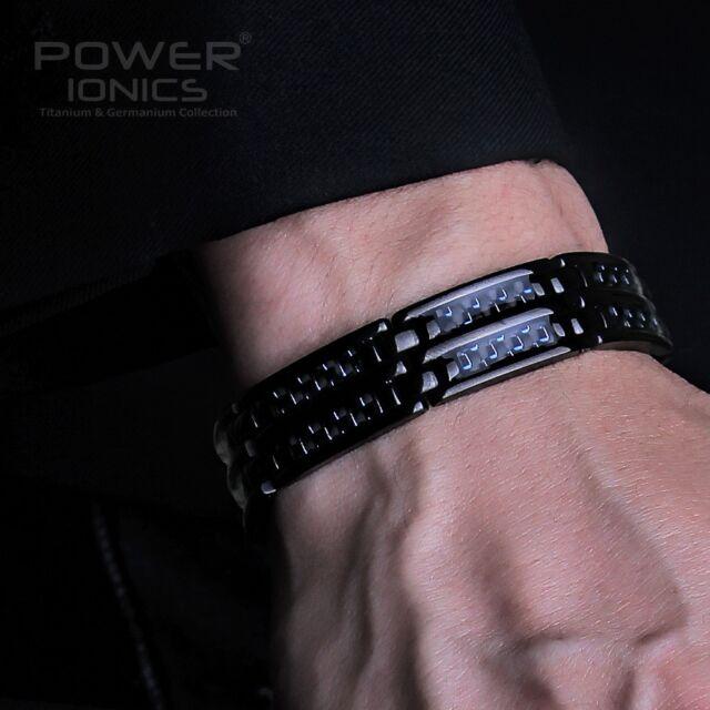 Power Ionics Black Mens 100% Pure Titanium Magnetic Carbon Fiber Bracelet Band
