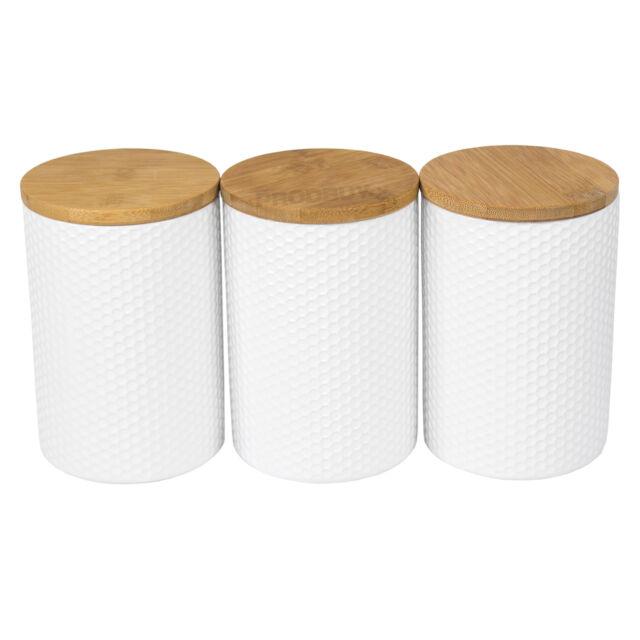 3 X White Hexagonal Geometric Storage Canisters Wood Lids Tea Coffee Sugar Jars