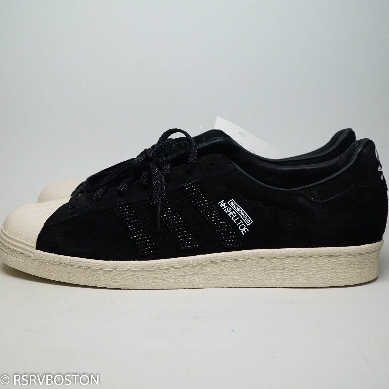 Adidas x quartiere nh shelltoe velluto nero nuovo 12 del m25785 superstar del 12 giappone 228072