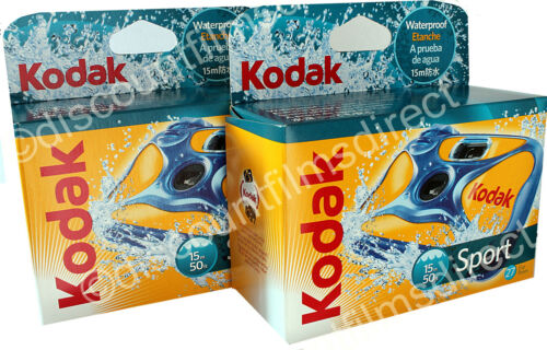 2 x KODAK SPORT UNDERWATER-WATERPROOF DISPOSABLE 35mm CAMERA by Ist CLASS POST
