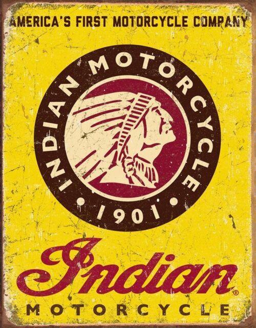 "Indian Motorcycle, Advertising Tin Sign Since 1901, Vintage Nostalgic Art 13x16"""