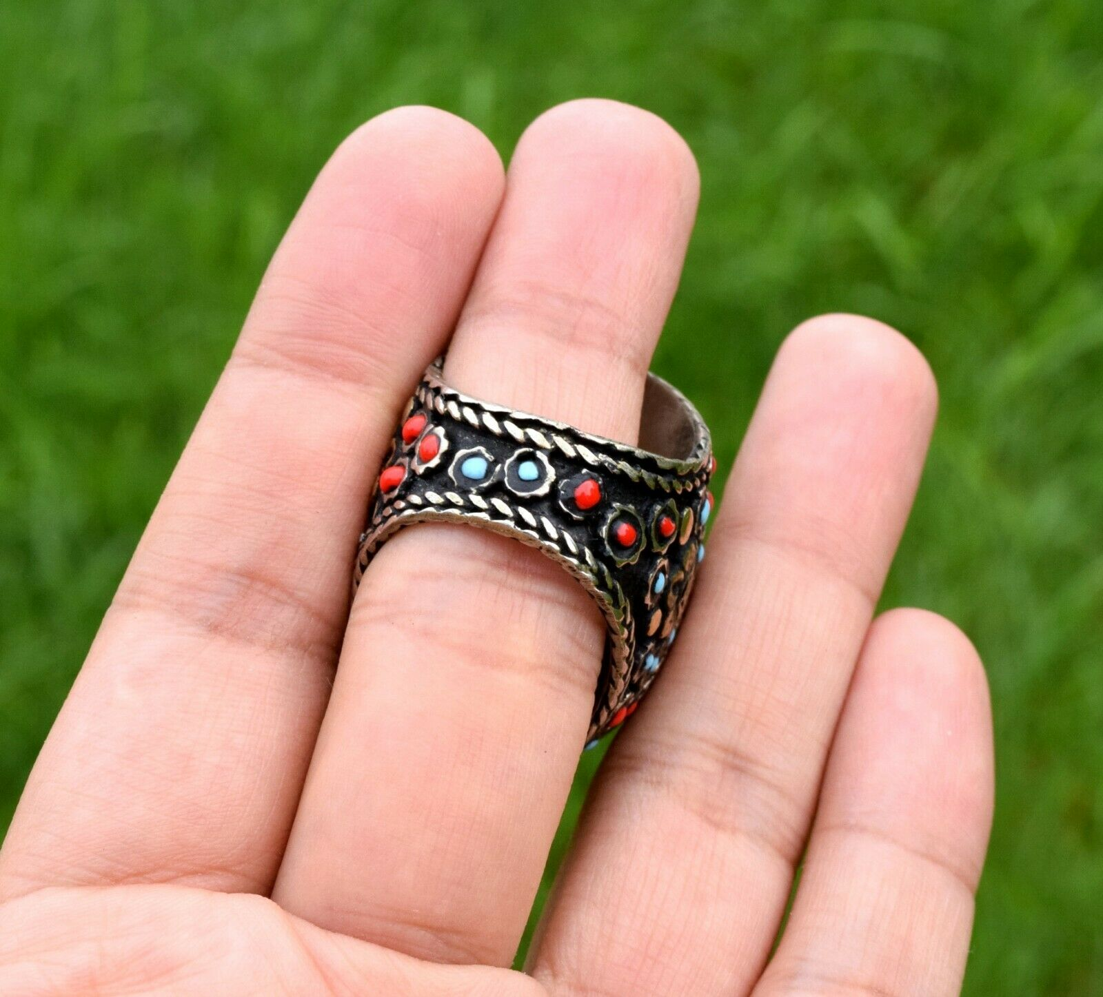 Ethnic Jewelry Ethnic Ring Bohemian Jewelry Blue Ring Tribal Jewelry Boho Ring Adjustable Ring Triangle Ring Gypsy Ring Tribal Ring