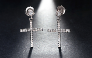 2ct Round Cut VVS1D Diamond Holy Cross Women Drop Earrings 14ct White Gold Over