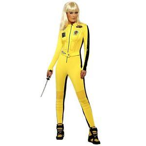 Adulto-Mujer-Kill-Bill-Amarillo-Mono-Pelicula-Halloween-Villain-Disfraz-Ninja