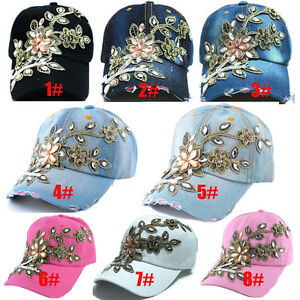 Image is loading Women-039-s-Applique-Flower-Rhinestone-Studded-Baseball- 676c308a42d