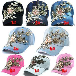 bdaf543fafc Image is loading Women-039-s-Applique-Flower-Rhinestone-Studded-Baseball-