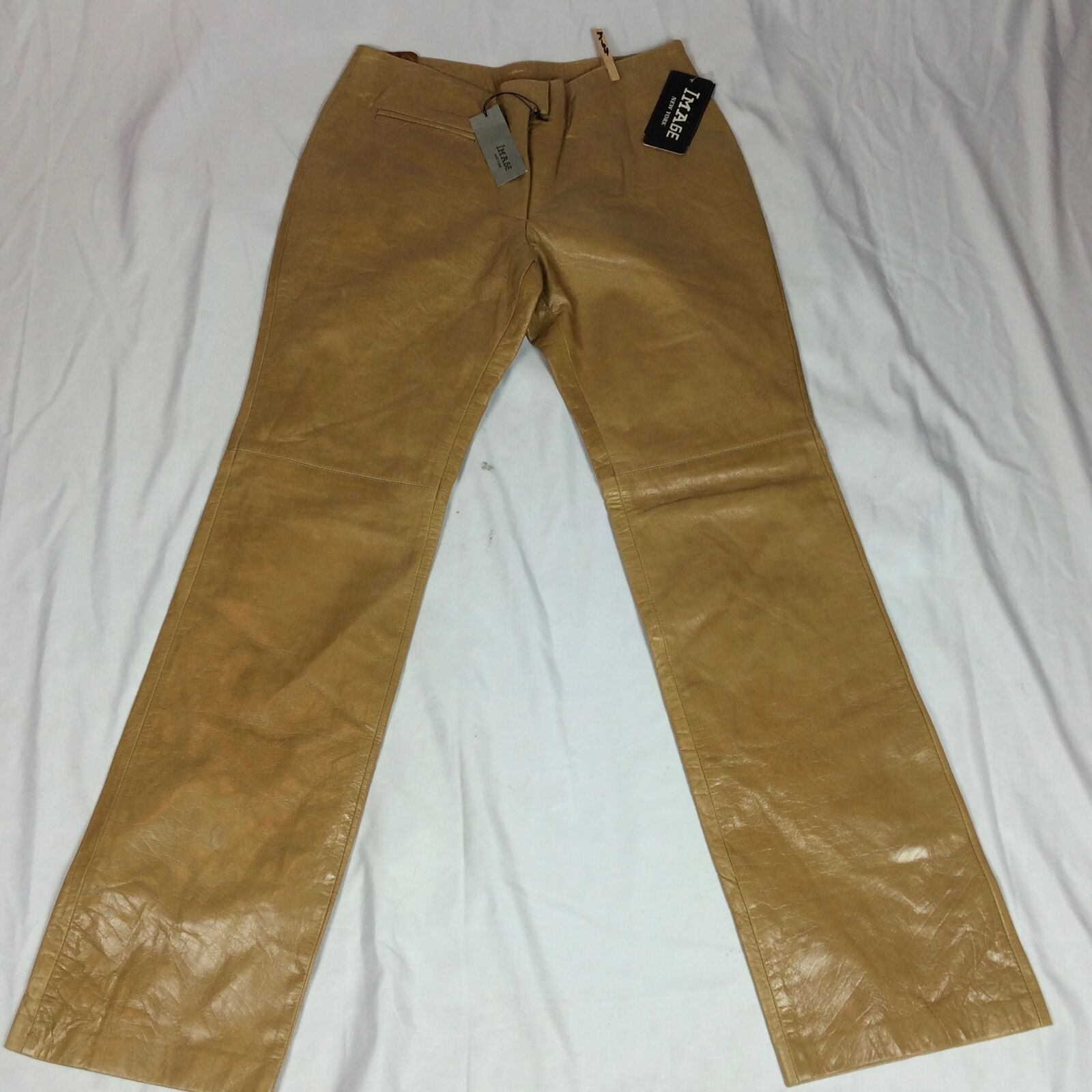 New VTG Womens SZ 8 28x32 Image New York Leather Pants Real 100% Genuine Brown