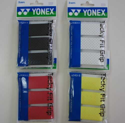 Japan Made ONE Pack of 3 Yonex Tacky Fit Badminton Tennis Squash Grips AC143EX
