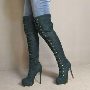 22213d9fd80 Details about Fashion Womens Platform High Heel Rivet Thigh High Boots Lace  Up Shoes Plus Size