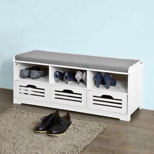 Sobuy recibidor acolchado madera almacenamiento zapatos Banco con cajones blanco