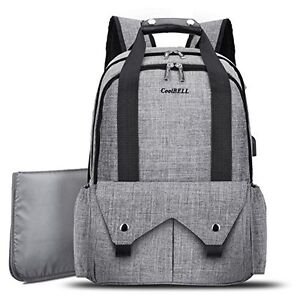 New Baby Diaper Backpack+ USB Port Travel Knapsack Nappy Handbag Changing Pad