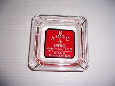 VINTAGE ABC RADIO & TV SERVICE ADVERTISING GLASS ASHTRAY