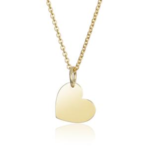 Details zu MATERIA Damen Halskette mit Anhänger Gravur Herz Gold 925 Silber 42 45cm