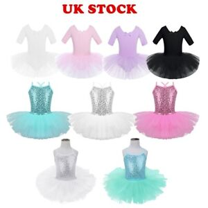 UK-Toddlers-Girl-Lyrical-Ballet-Dance-Leotard-Dress-Ballerina-Tutu-Skirt-Costume