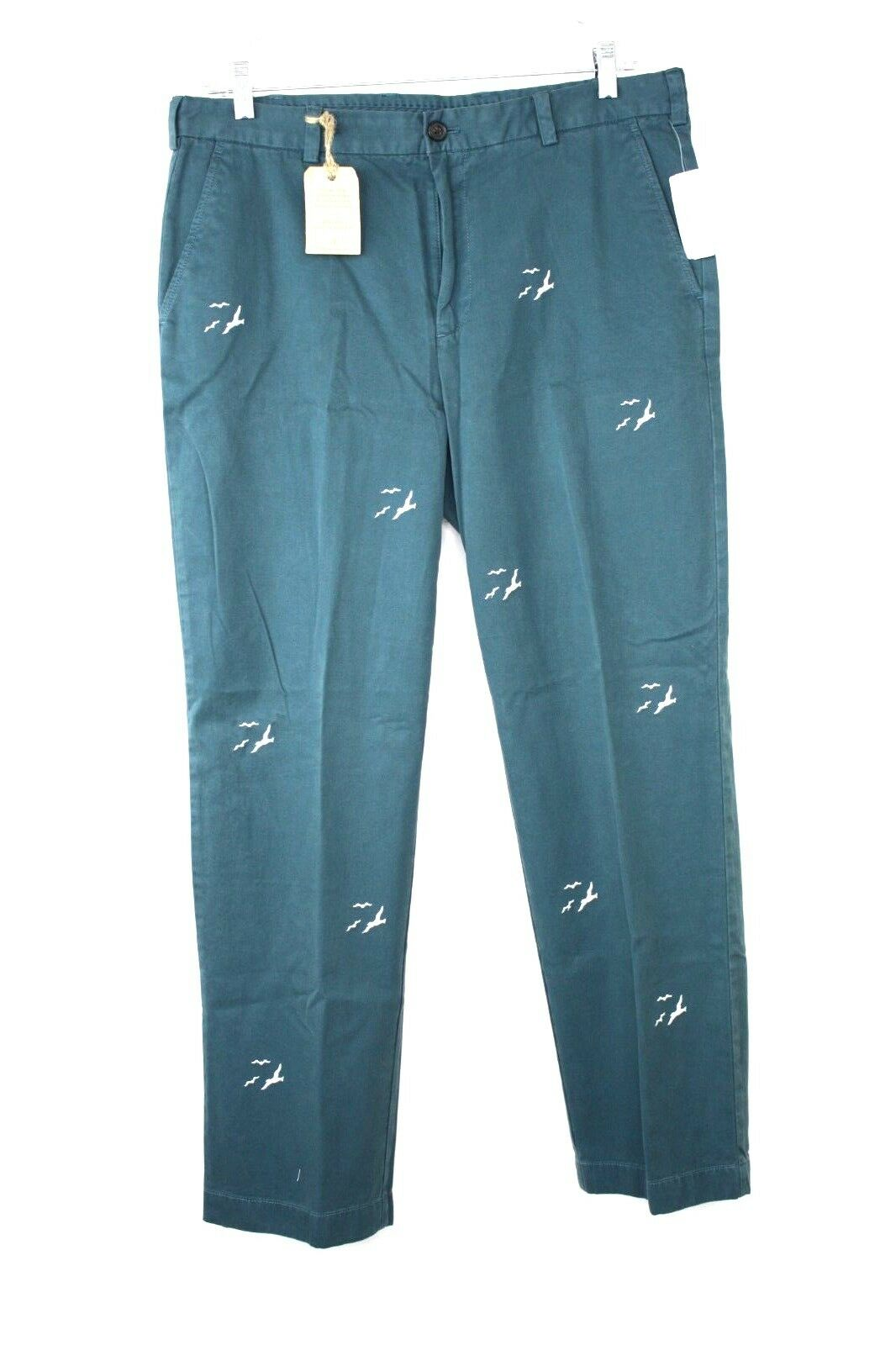 BROOKS BredHERS Men's TEAL EMBROIDERED BIRDS CLARK CASUAL PANTS Size 38 32