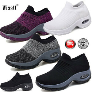 Women-Air-Cushion-Running-Sneakers-Breathable-Mesh-Walking-Slip-On-Casual-Shoes