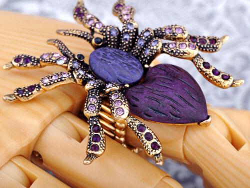 Antique Golden Violet Strass Rhinestone Spider Fashion Stretch Ring Band Cadeau