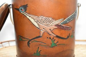 Mid-Century-Modern-Brown-Leather-Road-Runner-Ice-Bucket-MCM-Bird-Barware
