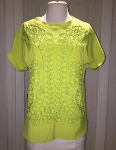 clear-cut texture up-to-datestyling buy sale Details about Karen Millen Neon Lime Green Top Size 12 Excellent Condition