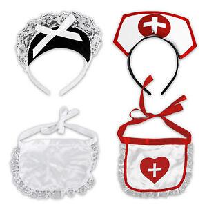 Hausmaedchen-Krankenschwester-Kostuem-Kostuemset-Karneval-2er-Set-Schuerze-Haarreif