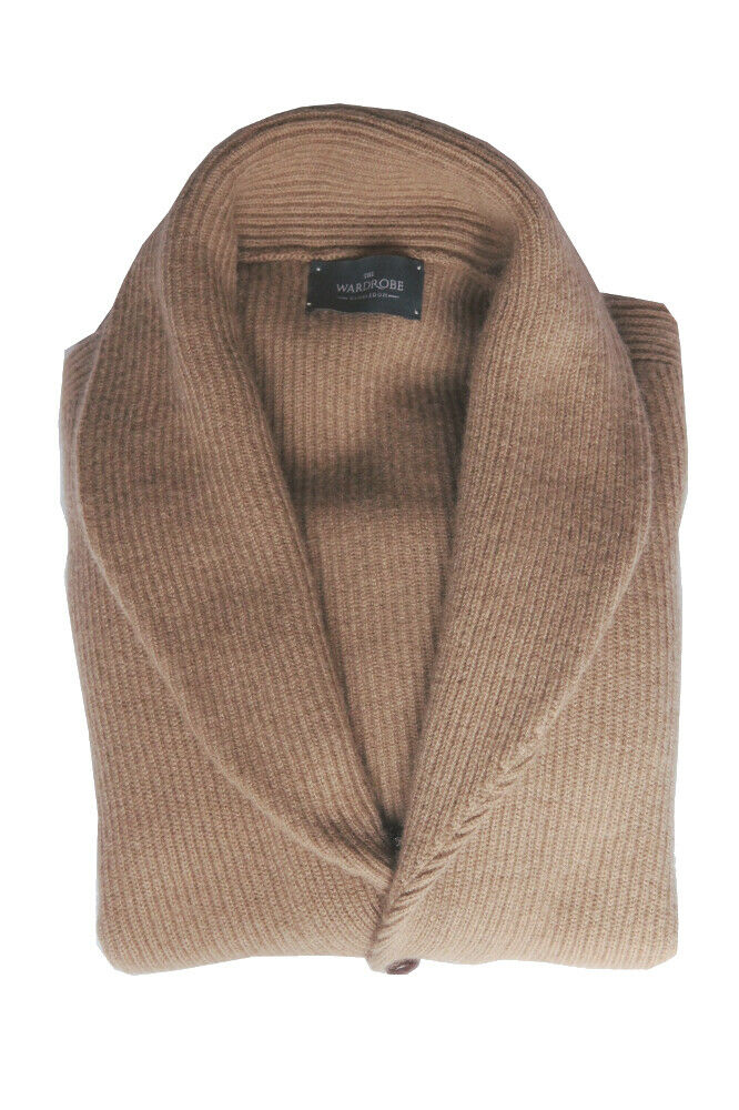 The Wardrobe Sweater  Medium Tan, shawl collar cardigan, pure camelhair