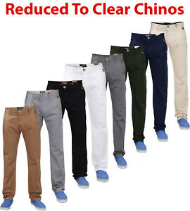 Mens-Chinos-Jeans-Designer-Straight-Leg-Slim-Fit-Stretch-Casual-Trousers-Pants