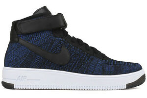 Top Sale - Nike Air Force 1 Ultra Flyknit Mid Game Royal Black 817420-400 Size 11