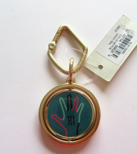 movable circle with hand Fossil Circle Fob//Key Ring HI BYE green black gold