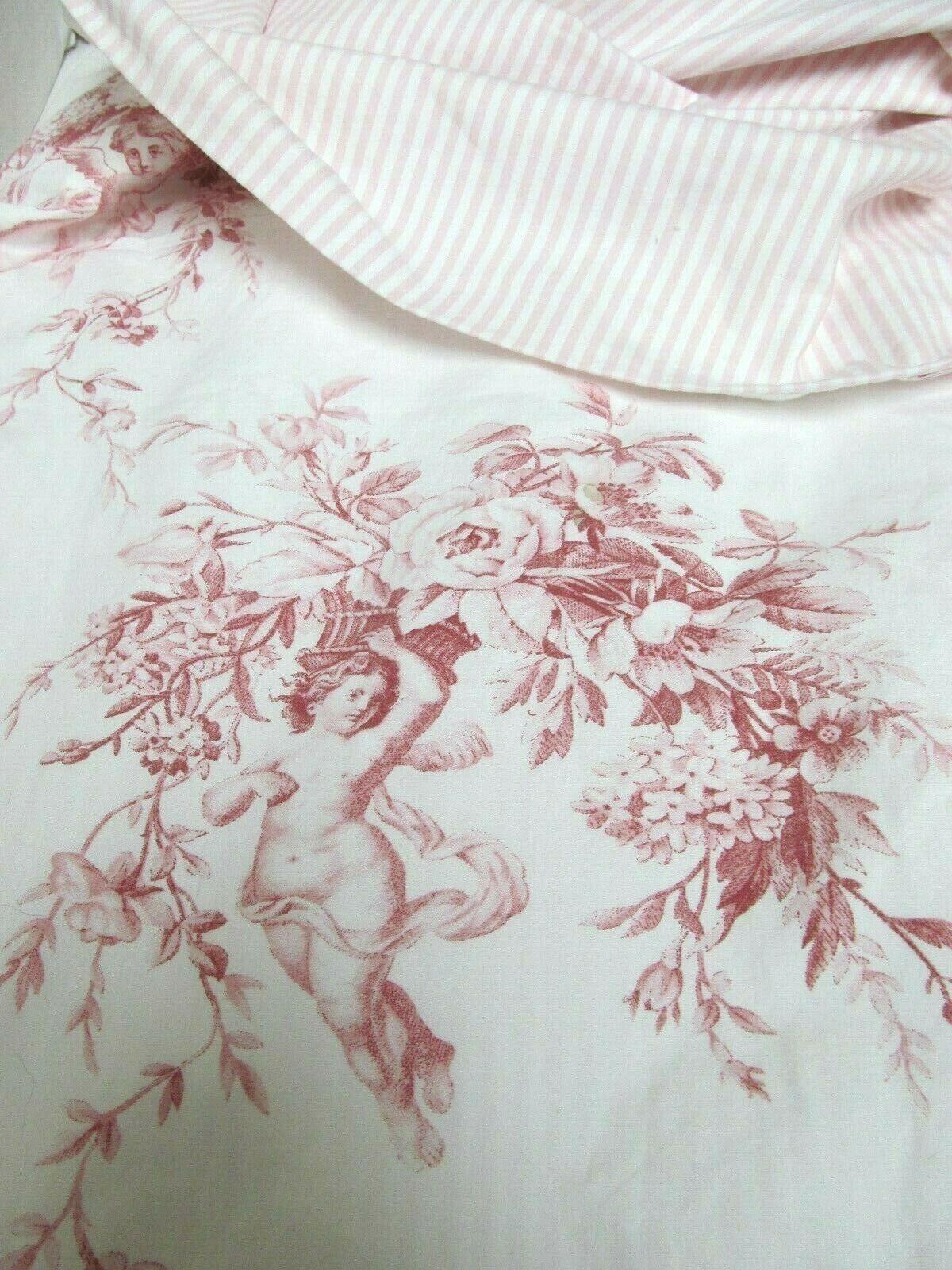 Anne de Solene Paris Pink reversible duvet cover Cherubs Toile- Stripes 53 x 76