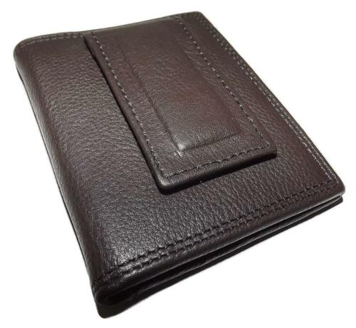 NEW PAUL /& TAYLOR LEATHER BIFOLD FRONT POCKET ID WALLET WITH MONEY CLIP BROWN