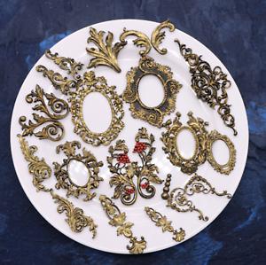 European Scroll Antique Mirror Frame Silicone Mold Fondant ...