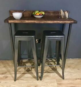 Image Is Loading Reclaimed Wood Breakfast Bar Table And 2 Stools