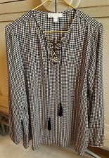 $130+ NWT MICHAEL KORS BEIGE BLACK WHITE GOLD LOGO TASSEL TIE TUNIC TOP BLOUSE M