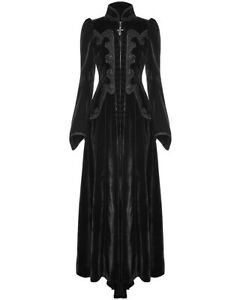 Punk-Rave-Womens-Long-Gothic-Dress-Jacket-Black-Velvet-Steampunk-Victorian-VTG