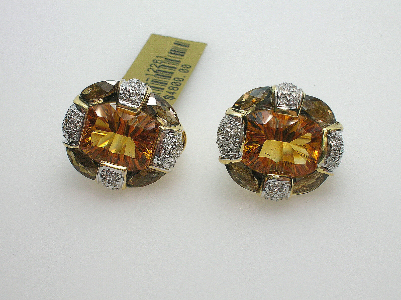 BELLARRI CITRINE QUARTZ & DIAMONDS EARRINGS 18K gold - NEW - RETAIL  4800.00
