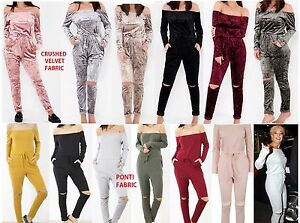 Womens Off Shoulder Crushed Velvet Slit Knee Loungewear Jumpsuit