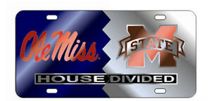 Ole Miss Mississippi State Mirrored House Divided License Plate