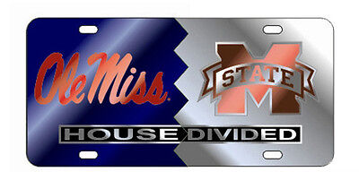 Silver NCAA Mississippi Old Miss Rebels Laser Cut Metal Hitch Cover Large