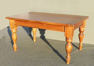 Details about Vintage French Country Butcher Block Rustic Alder Wood Dining  Room Table ~ Desk
