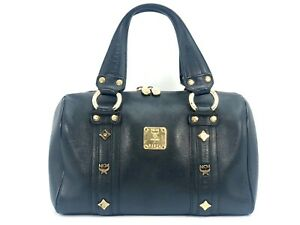 Details zu MCM Henkeltasche Leather Leder Tasche schwarz gold Boston Bag Business Bag Black