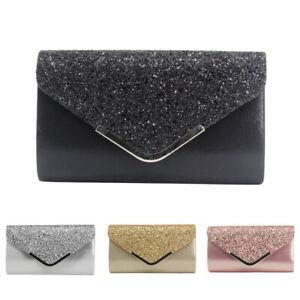 e66a336fa0 Image is loading Women-Diamante-PU-Evening-Clutch-Bag-Envelope-Handbag-
