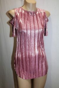 AYANAPA-Brand-Pink-Shiny-Cold-Shoulder-Raw-Hem-Pleated-Top-Size-8-BNWT-TL104