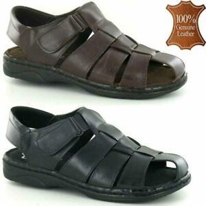 Homme En Cuir Léger Sandales Marche Randonnée Plage Vacances Chaussures Tailles-afficher Le Titre D'origine